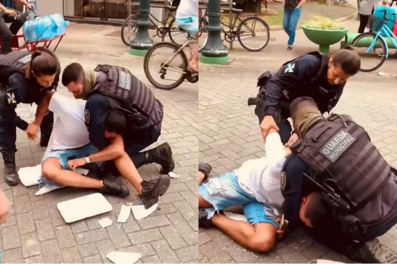 Estão afastados das ruas os Guardas que agrediram o vendedor de doces em Itajaí